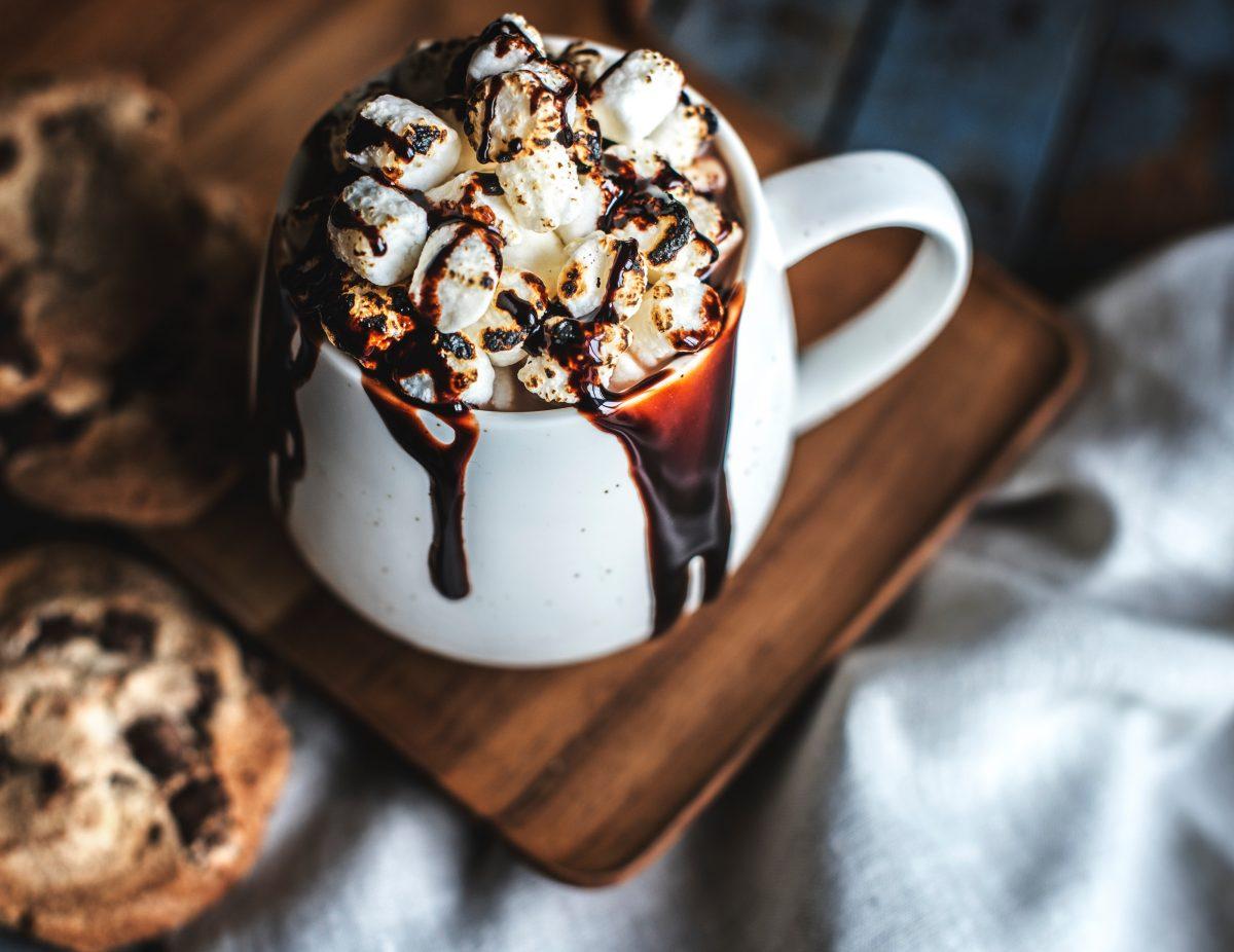 opwarmen in de winter chocolade melk