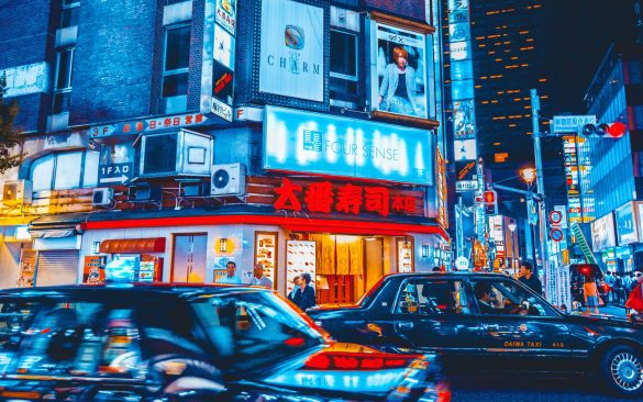 Tokyo in het donker met ledlampen